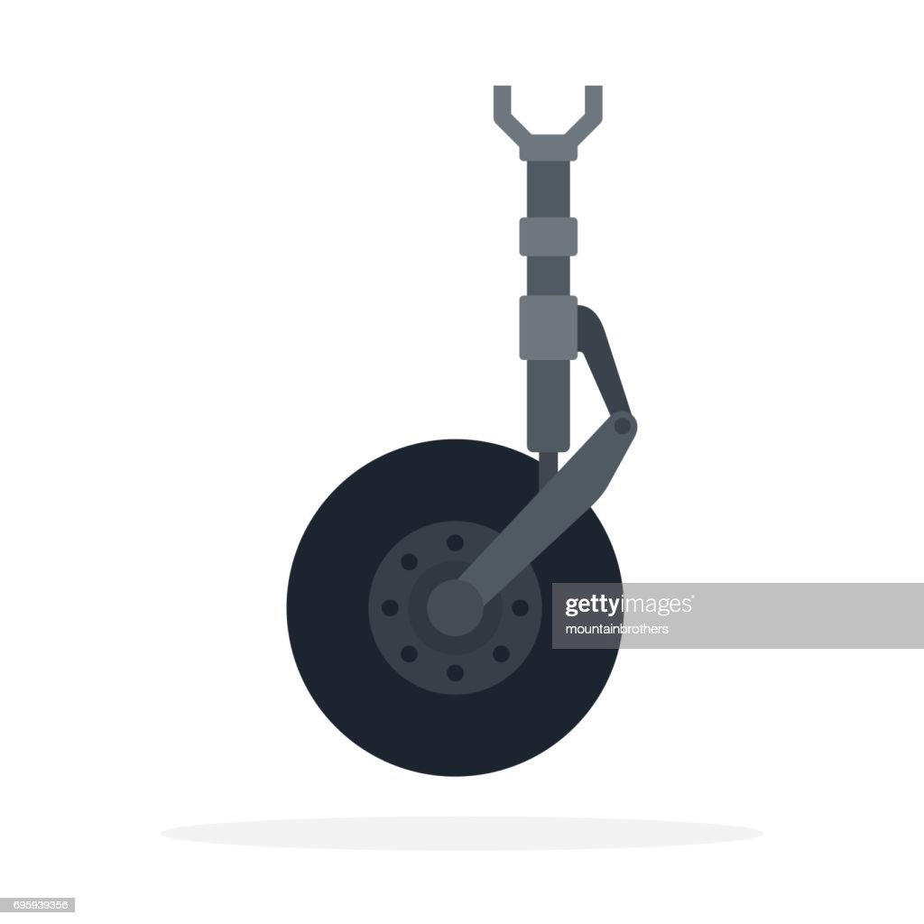 Aircraft undercarriage vector flat material design isolated object on white background.