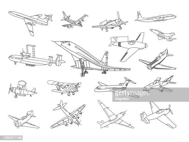 aircraft vector doodles set - history stock illustrations