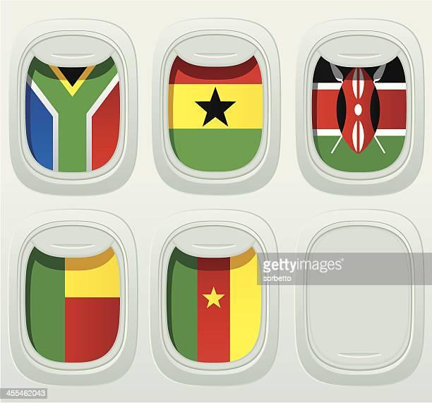 aircraft window national flag collection - ghana flag stock illustrations, clip art, cartoons, & icons