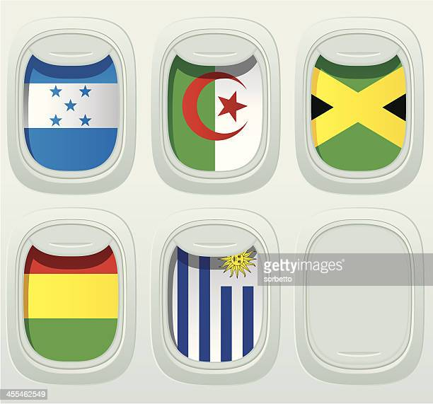 aircraft window national flag collection - jamaican culture stock illustrations, clip art, cartoons, & icons