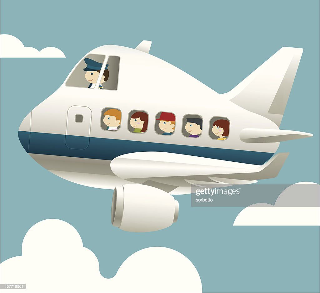 Aircraft with pilot and passenger : stock illustration