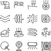 Airflow line icon set. Included the icons as airflow, turbine, fan, air ventilation, Ventilators and more.