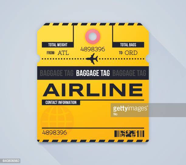 airline baggage claim tag - travel tag stock illustrations, clip art, cartoons, & icons