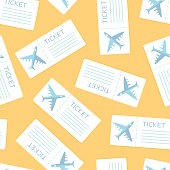 Airline boarding pass seamless pattern over yellow. Vector illustration