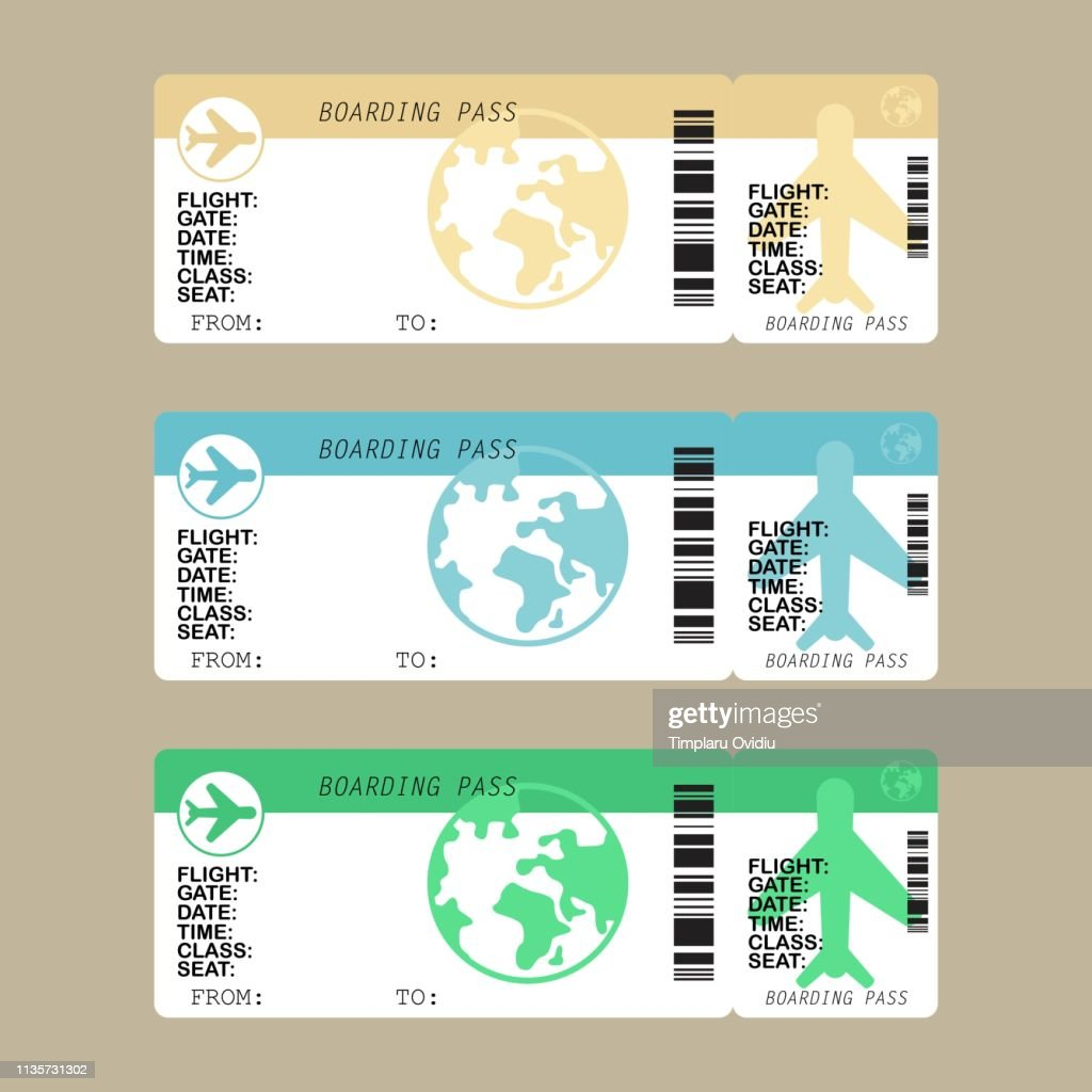 Airline boarding pass ticket set, vector illustration in flat style