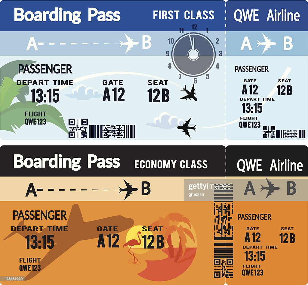 Airline Boarding Pass Tickets -flat illustration