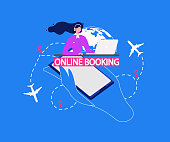 Airline Company Online Booking Service Vector