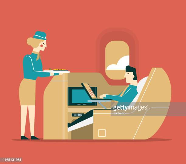 airline meal service - businessman - business travel stock illustrations