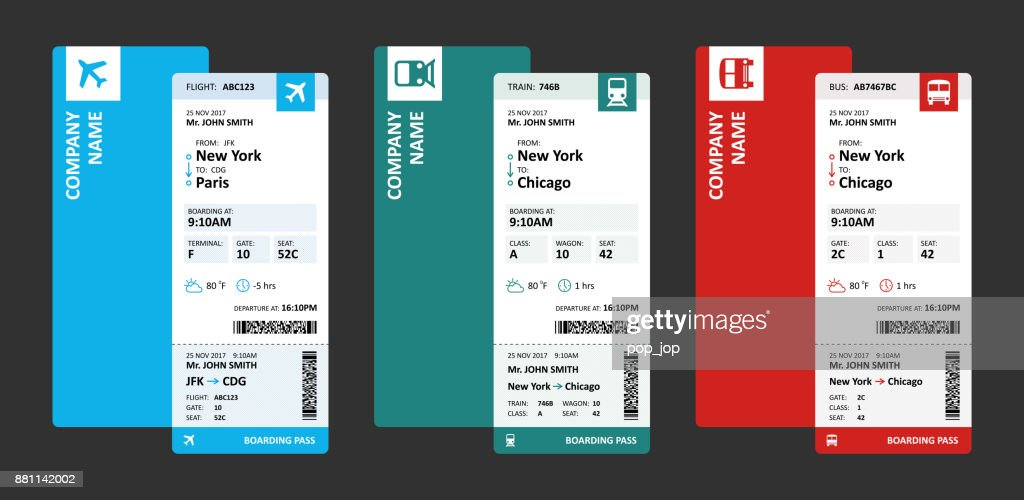 Airline, Railway and Bus Tickets or Boarding Passes for Travelling - Vector Illustration : stock illustration