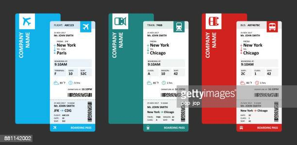 airline, railway and bus tickets or boarding passes for travelling - vector illustration - leaving stock illustrations