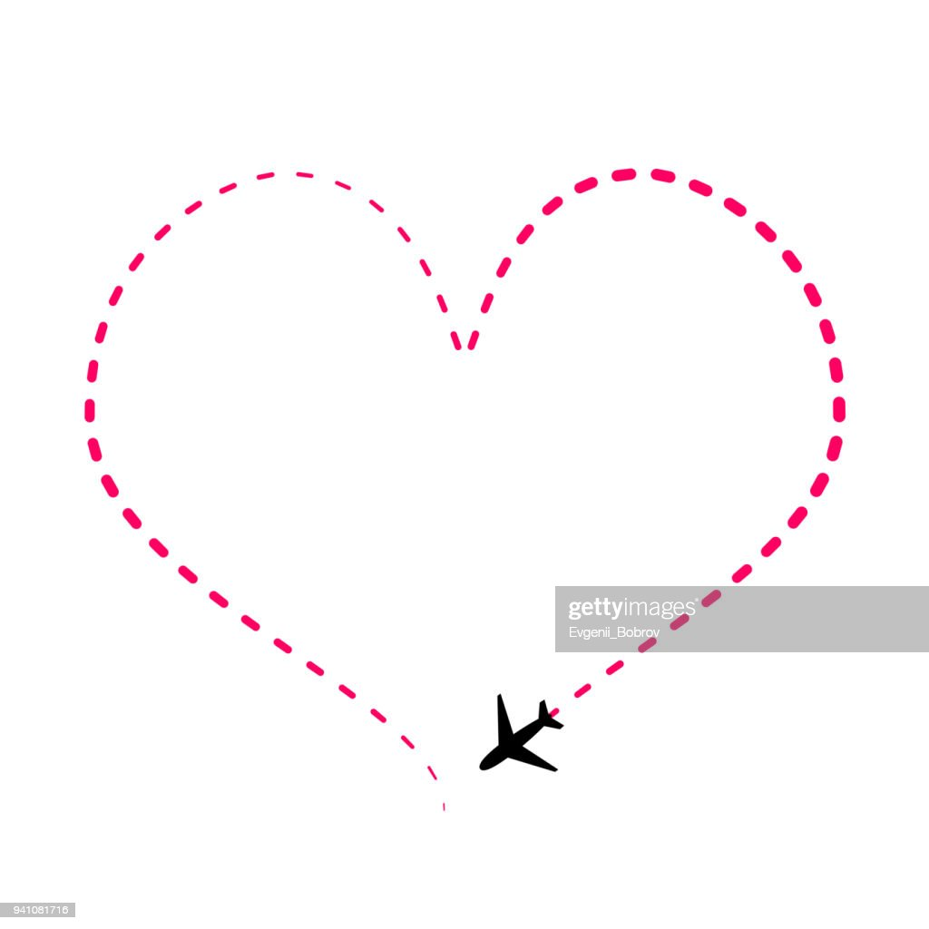 Airline route in pink heart shape with plane icon isolated on white