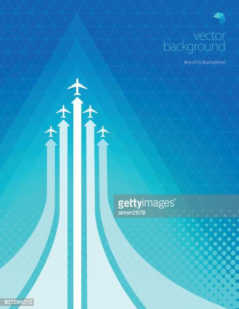 Airline routes with planes on blue turquoise color background