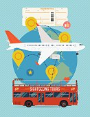 Airline tickets and travel banner or poster template
