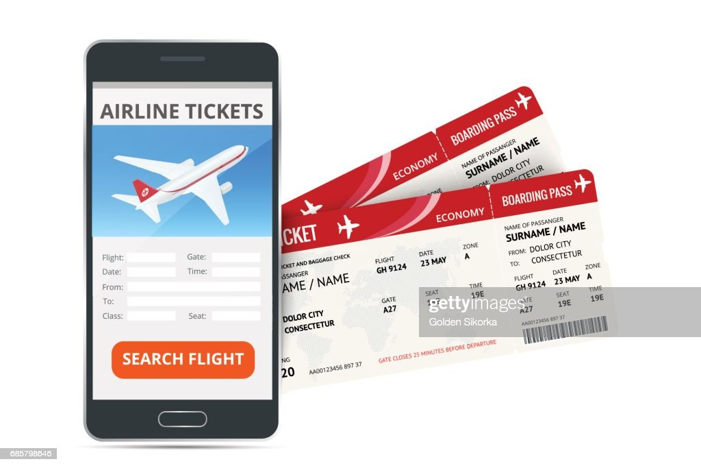 Airline tickets booking online app phone and two boarding passes. Concept of travel, journey or business. Isolated on white vector illustration