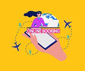 Airline Tickets Online Booking Service Flat Vector