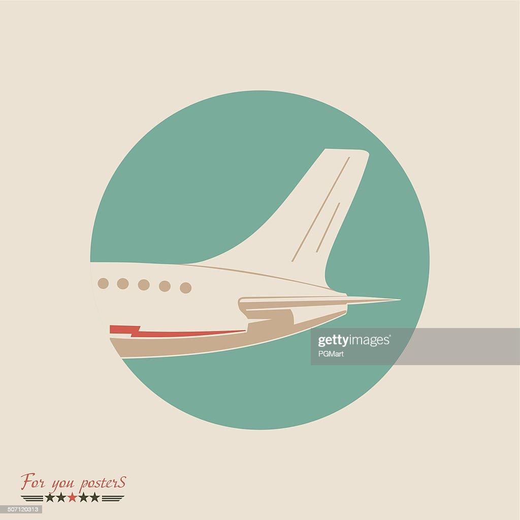 Airliner emblem. Flat vector design