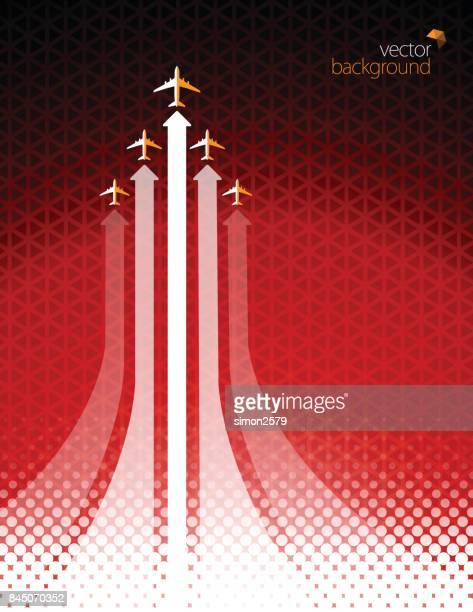 airliner in action on red color background - turbine stock illustrations, clip art, cartoons, & icons