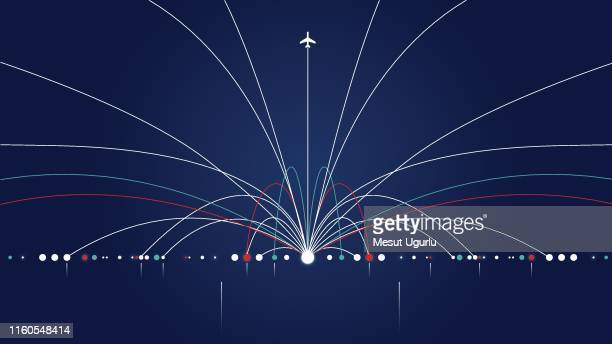 airliner in action - flying stock illustrations