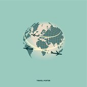 Airliner on world map background, retro poster