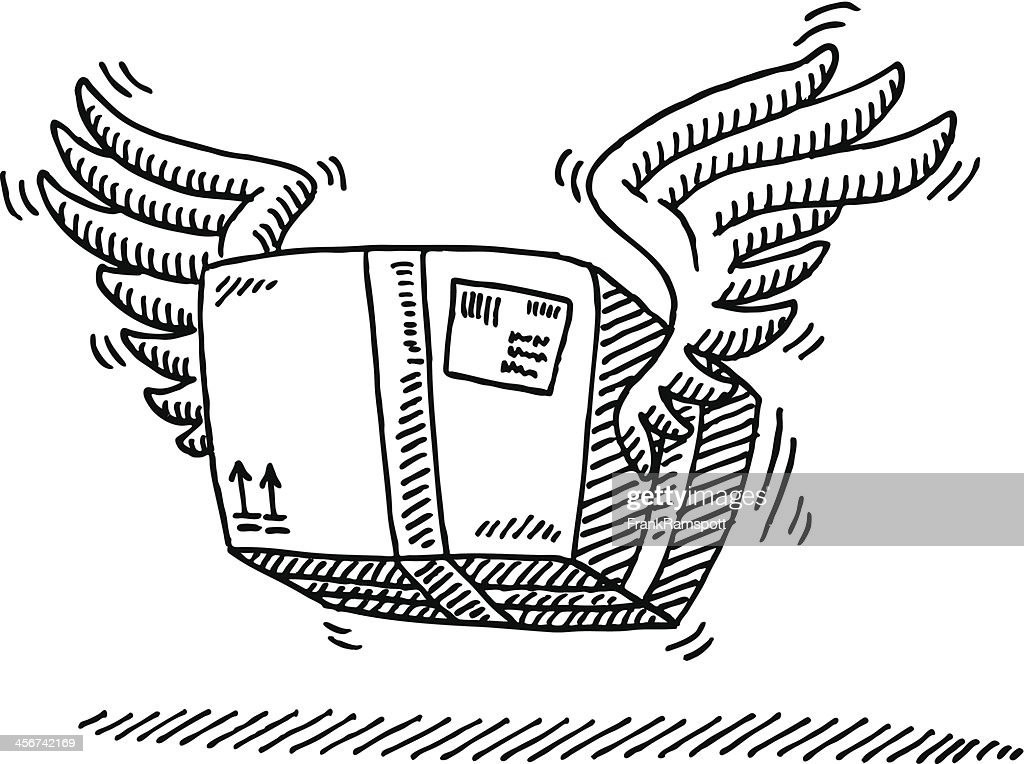 Airmail Parcel Wings Drawing : stock illustration
