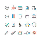 Airoport icons with line and colorful elements