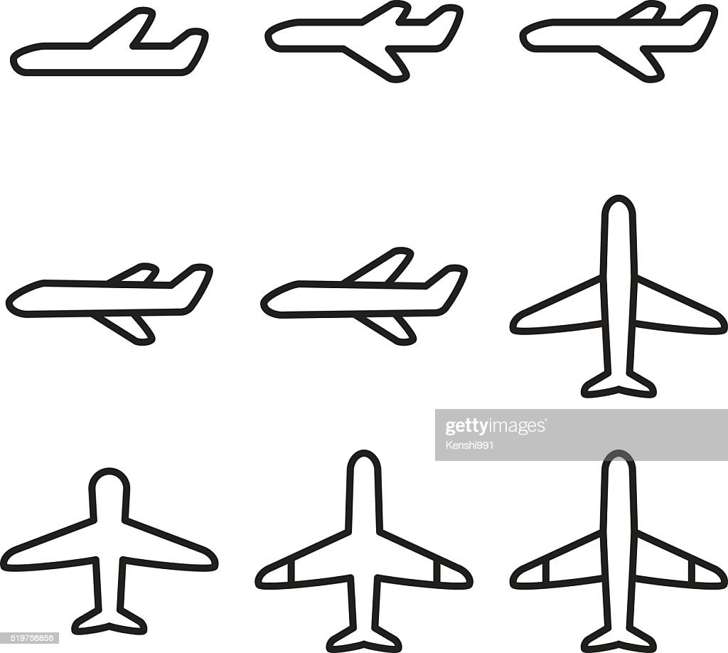 Airplane and airport icon set. Vector illustration.