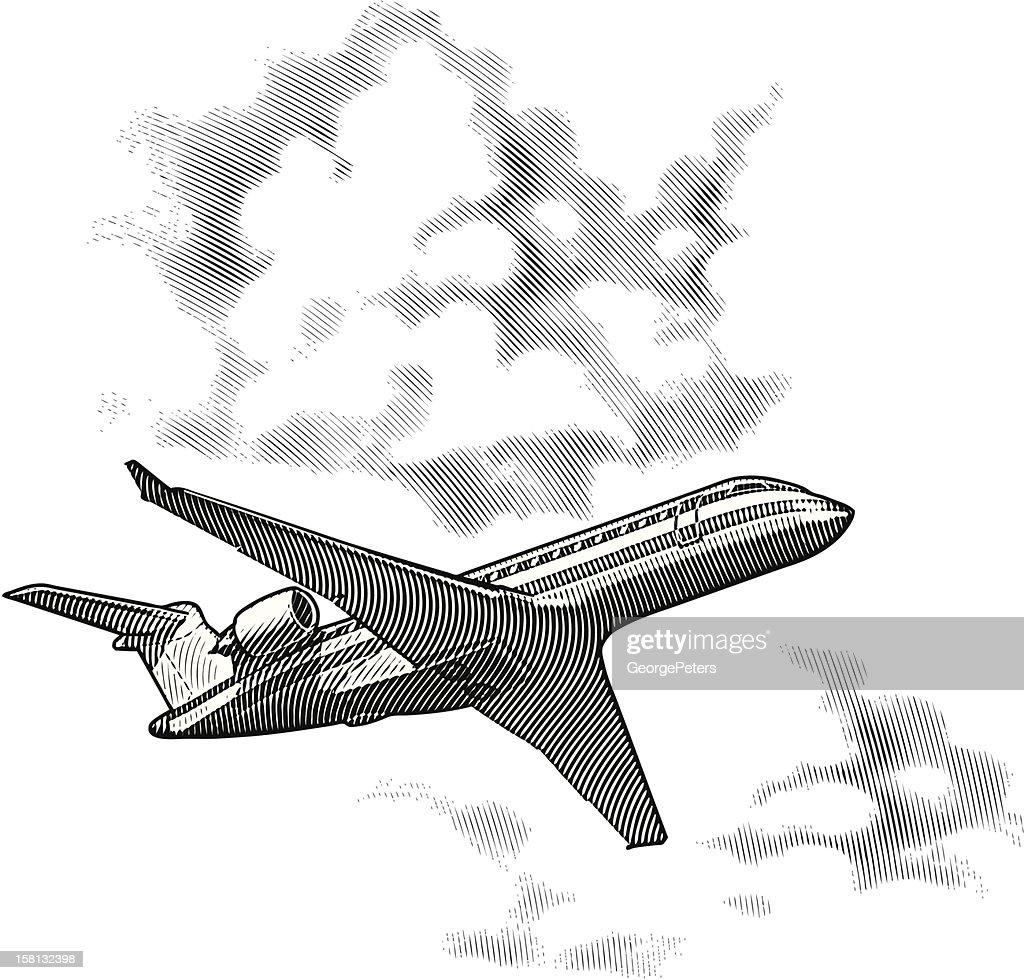 Airplane and Clouds : Vectorkunst