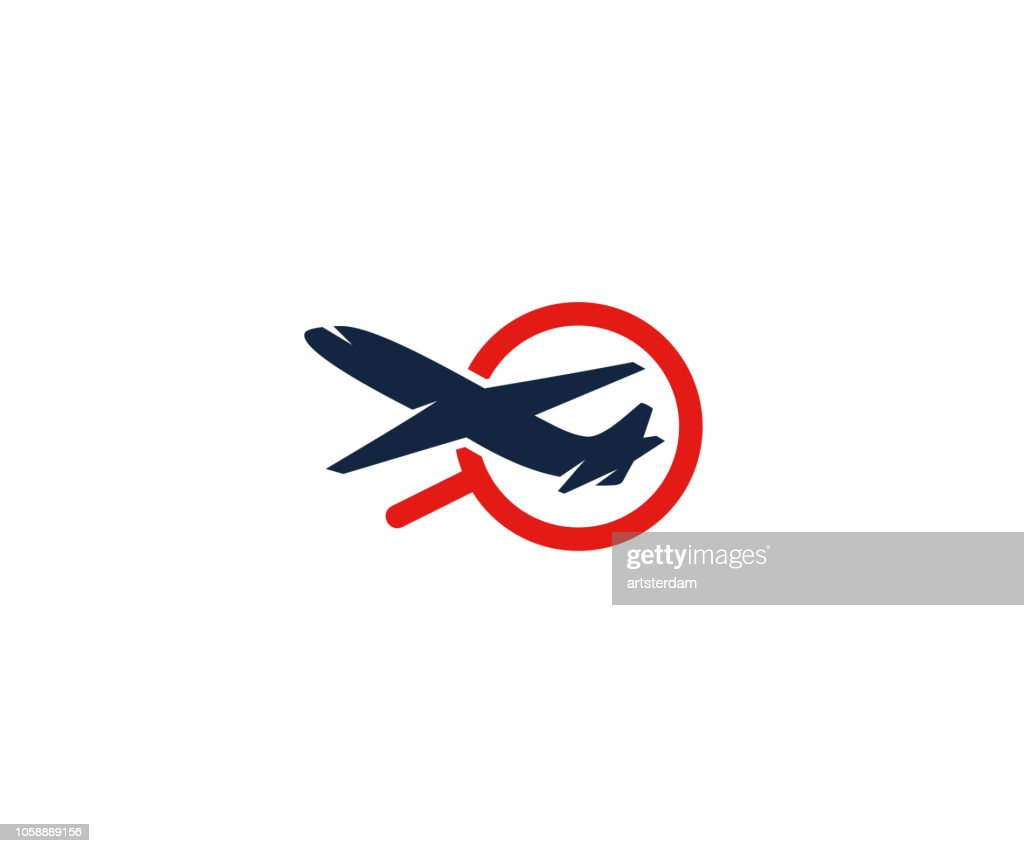 Airplane and magnifier logo design. Search for flights and flights vector design. Air communication illustration
