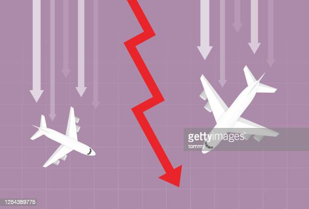 airplane and red arrow going down - collapsing stock illustrations