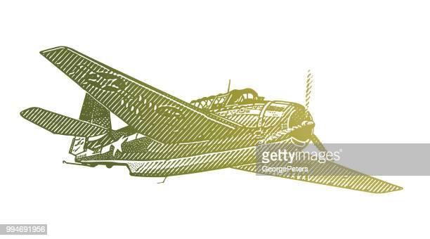 ww2 airplane. avenger dive bomber - d day stock illustrations