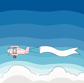 Airplane banner on bluesky vector background cute painting