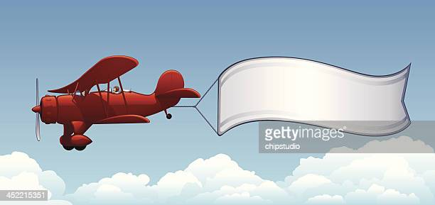 airplane banner - vapor trail stock illustrations, clip art, cartoons, & icons