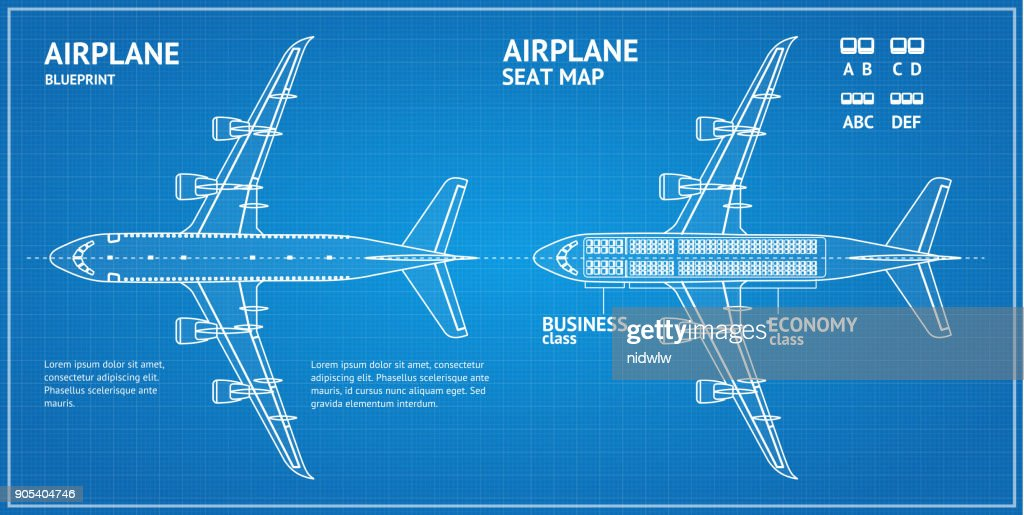 Airplane Blueprint Plan Top View. Vector