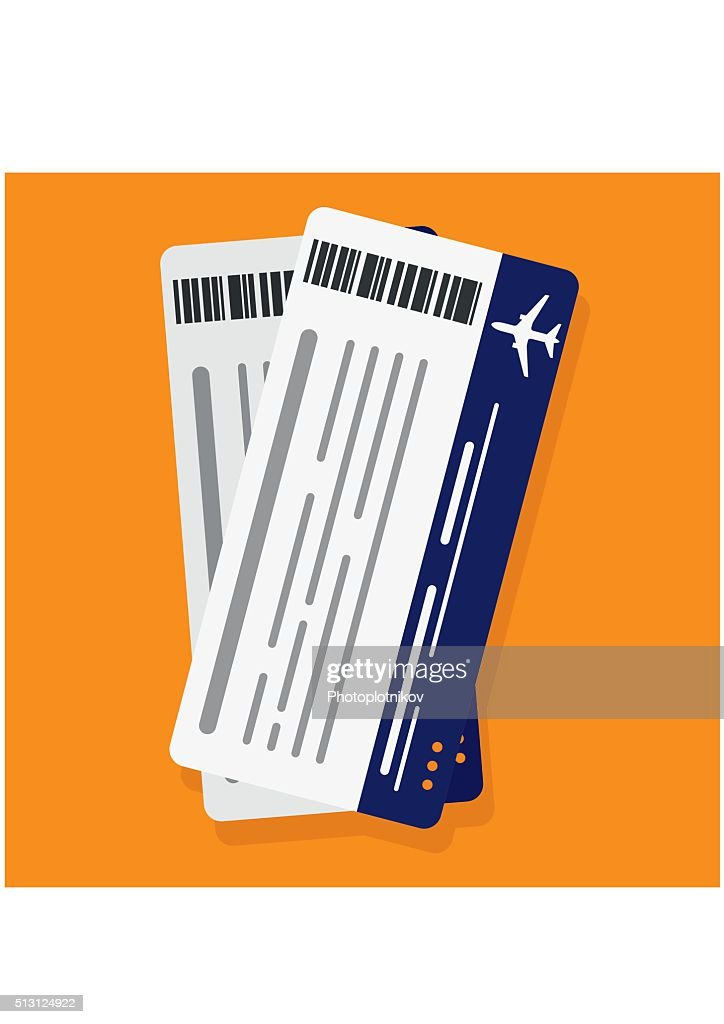 Airplane boarding pass tickets. Travel concept isolated on ogange background