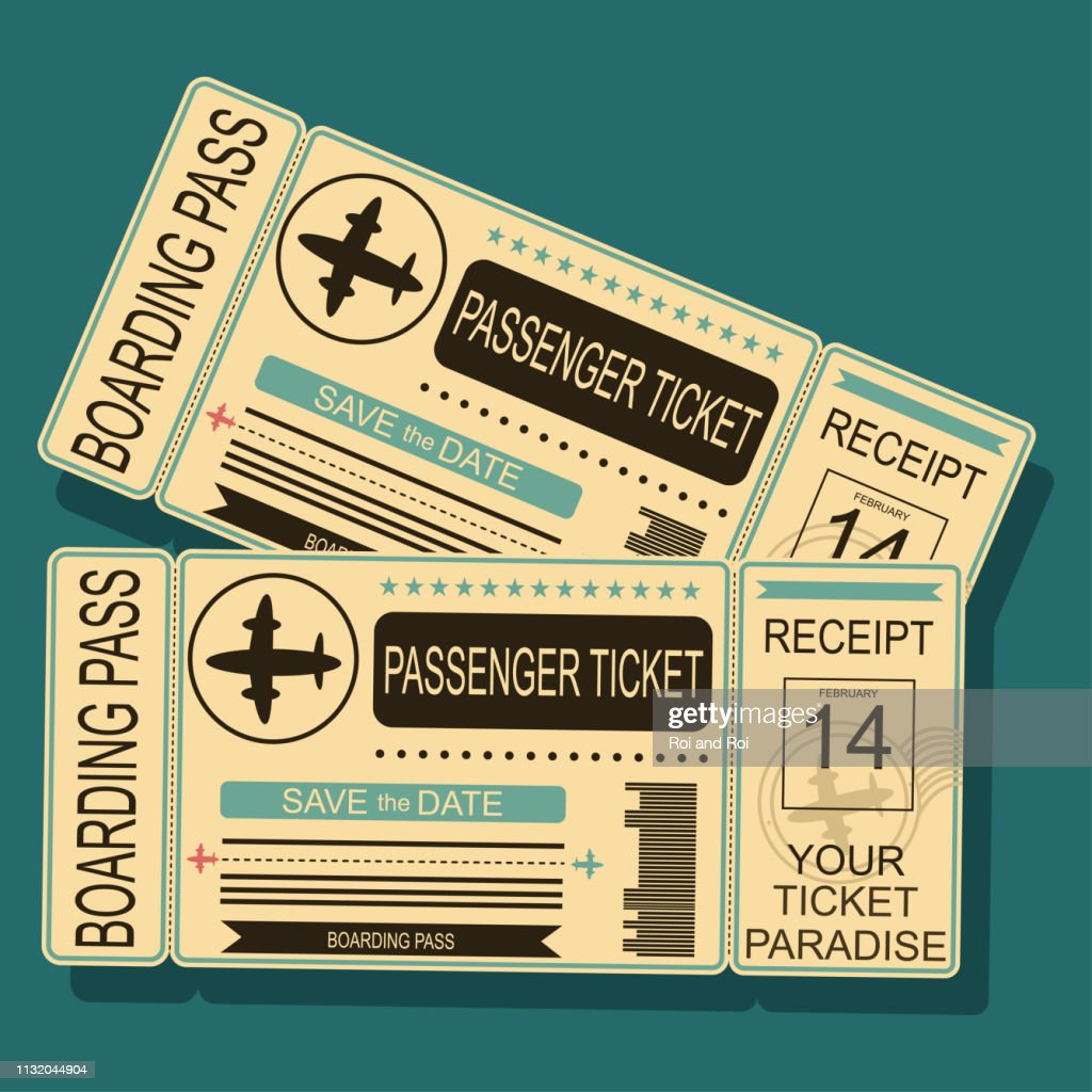 Airplane boarding pass with a barcode and seal. Vector illustration in retro style isolated on background.