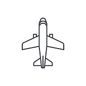 airplane, boeing plane, travel thin line icon. Linear vector symbol