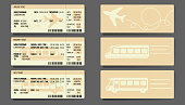 Airplane Bus Train tickets concept design