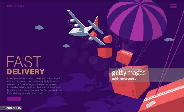 airplane cargo - landing page stock illustrations
