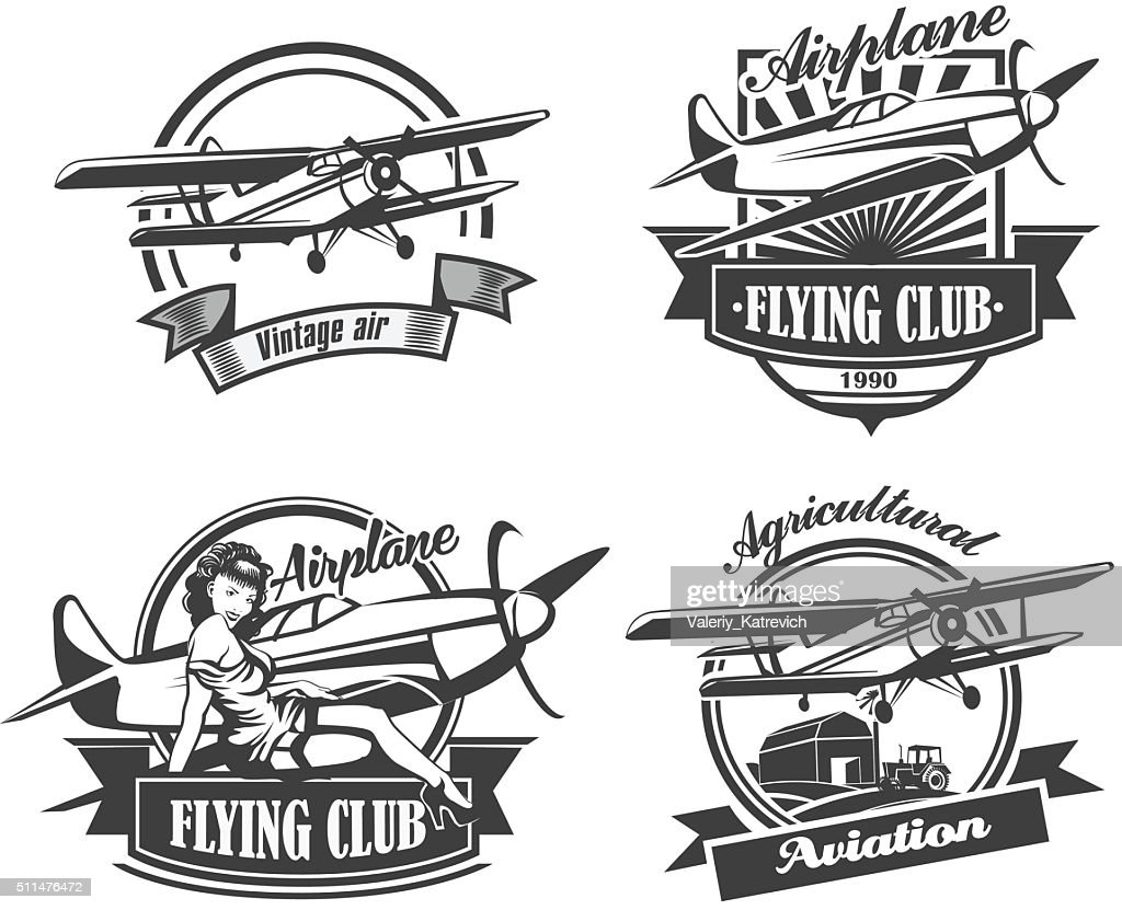 Airplane Club Vector Illustration Emblem, vector illustration set