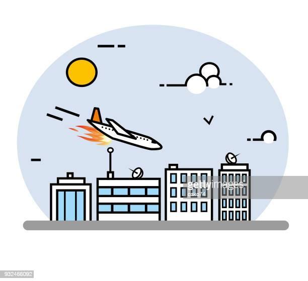 illustrations, cliparts, dessins animés et icônes de illustration d'art avion crash ligne - catastrophe aérienne