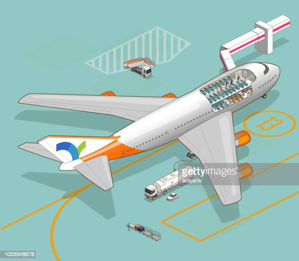 airplane cutaway - cutaway drawing stock illustrations