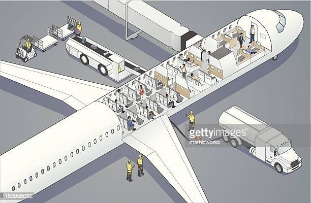 airplane cutaway - mathisworks business stock illustrations