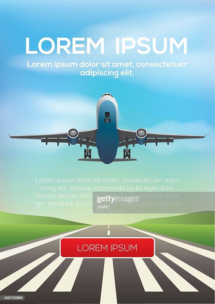 Airplane departing and landing