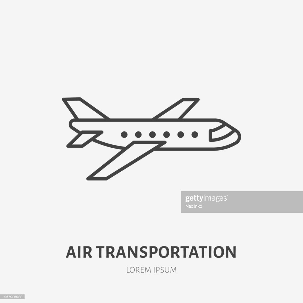 Airplane flat line icon. Jet sign. Thin linear logo for air delivery, freight services or travel