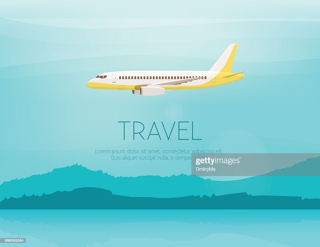 Airplane flies in the sky. Side view. Cartoon vector illustration
