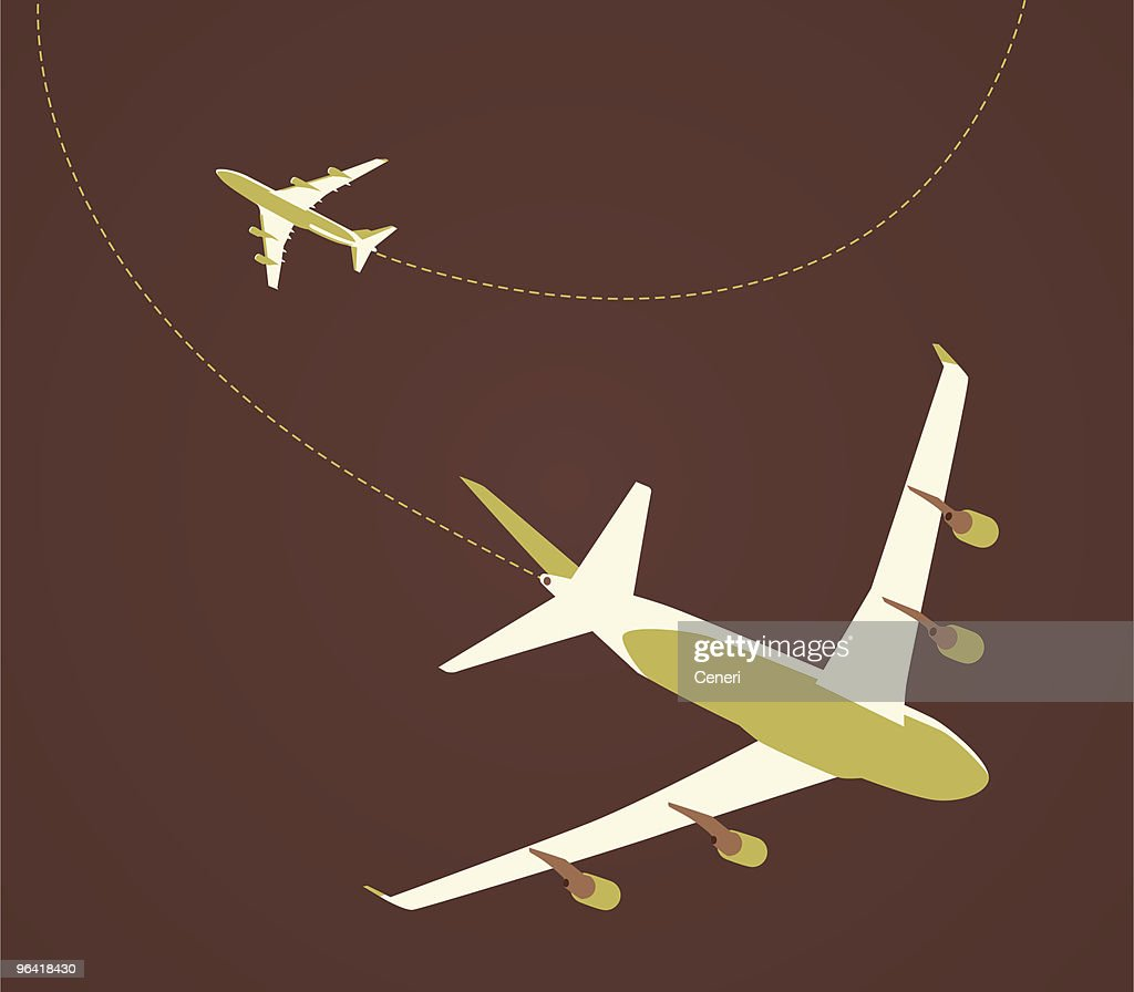 airplane flying in different flight paths : stock illustration