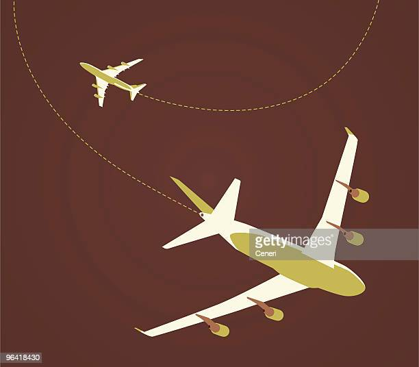 airplane flying in different flight paths - vapor trail stock illustrations, clip art, cartoons, & icons