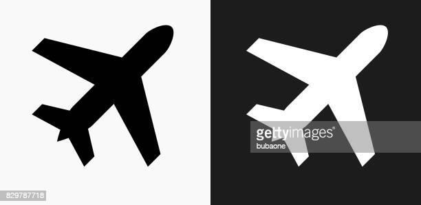 Icône d'avion sur des arrière-plans de Vector noir et blanc