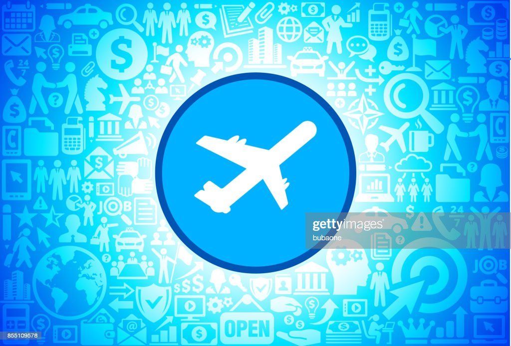 Airplane  Icon on Business and Finance Vector Background