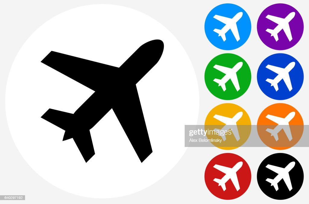 Airplane Icon on Flat Color Circle Buttons : stock illustration